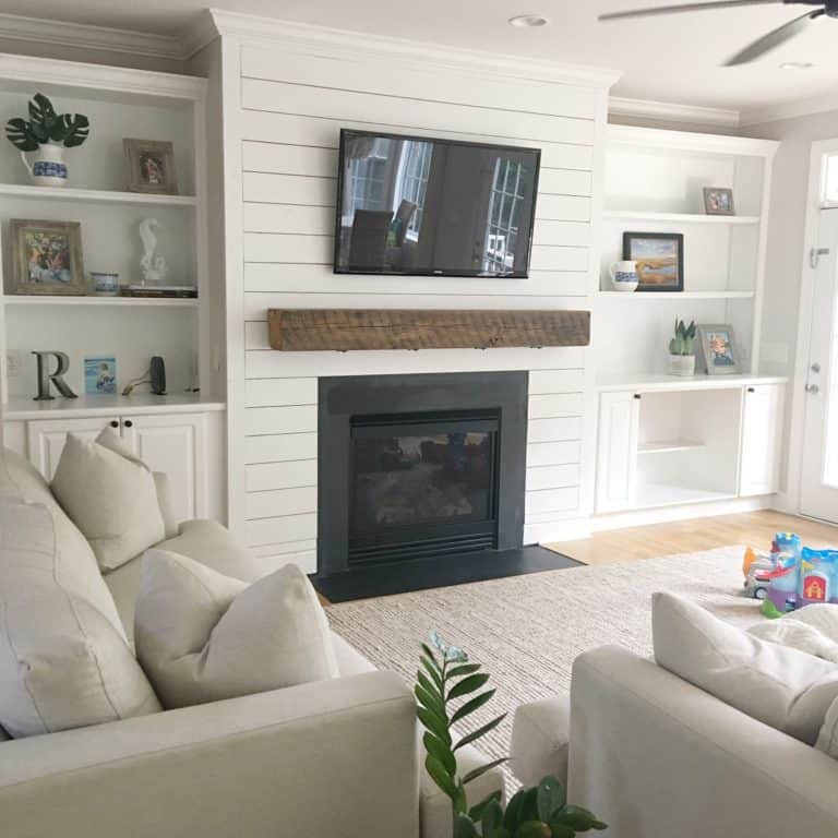 Fireplace + Shiplap – Before and After