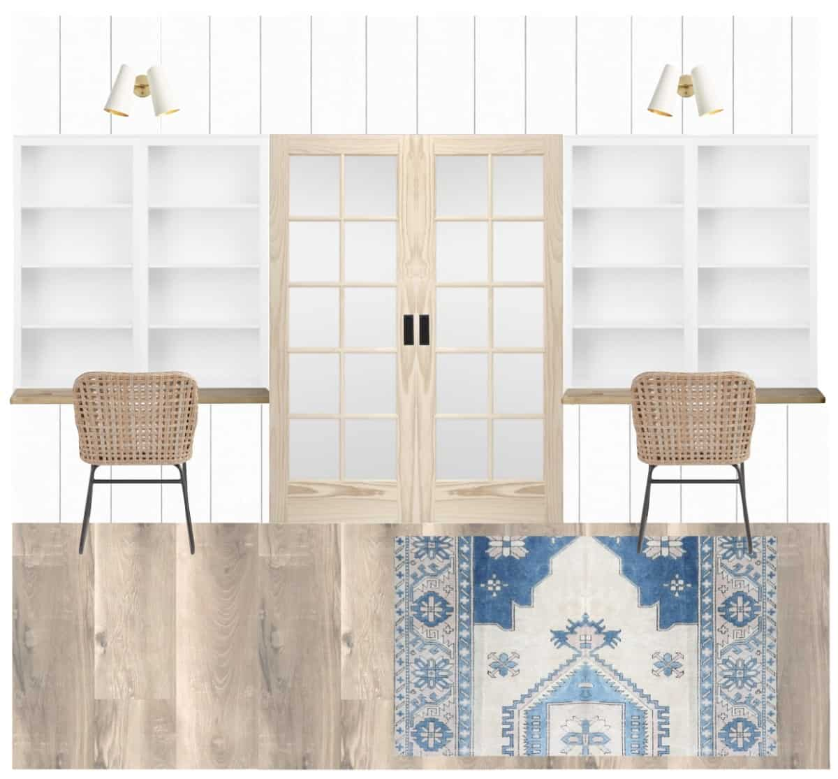 Designing our coastal inspired office with built-ins and desks for kids and adults. #office #kidsdesks #coastaldeco #coastalhome #builtins #builtindesks