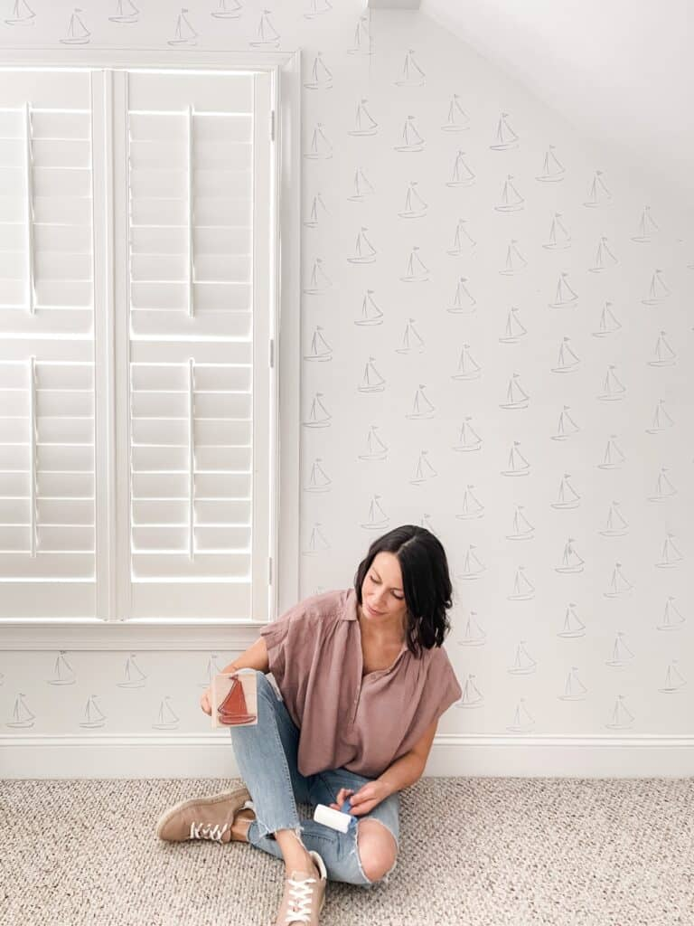 DIY Stamped Wall that Looks Like Wallpaper