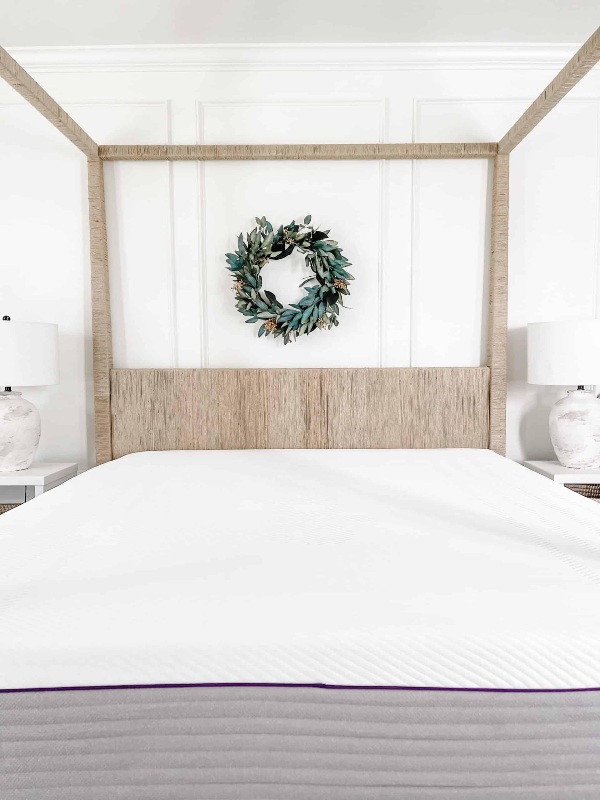 Purple mattress in master bedroom