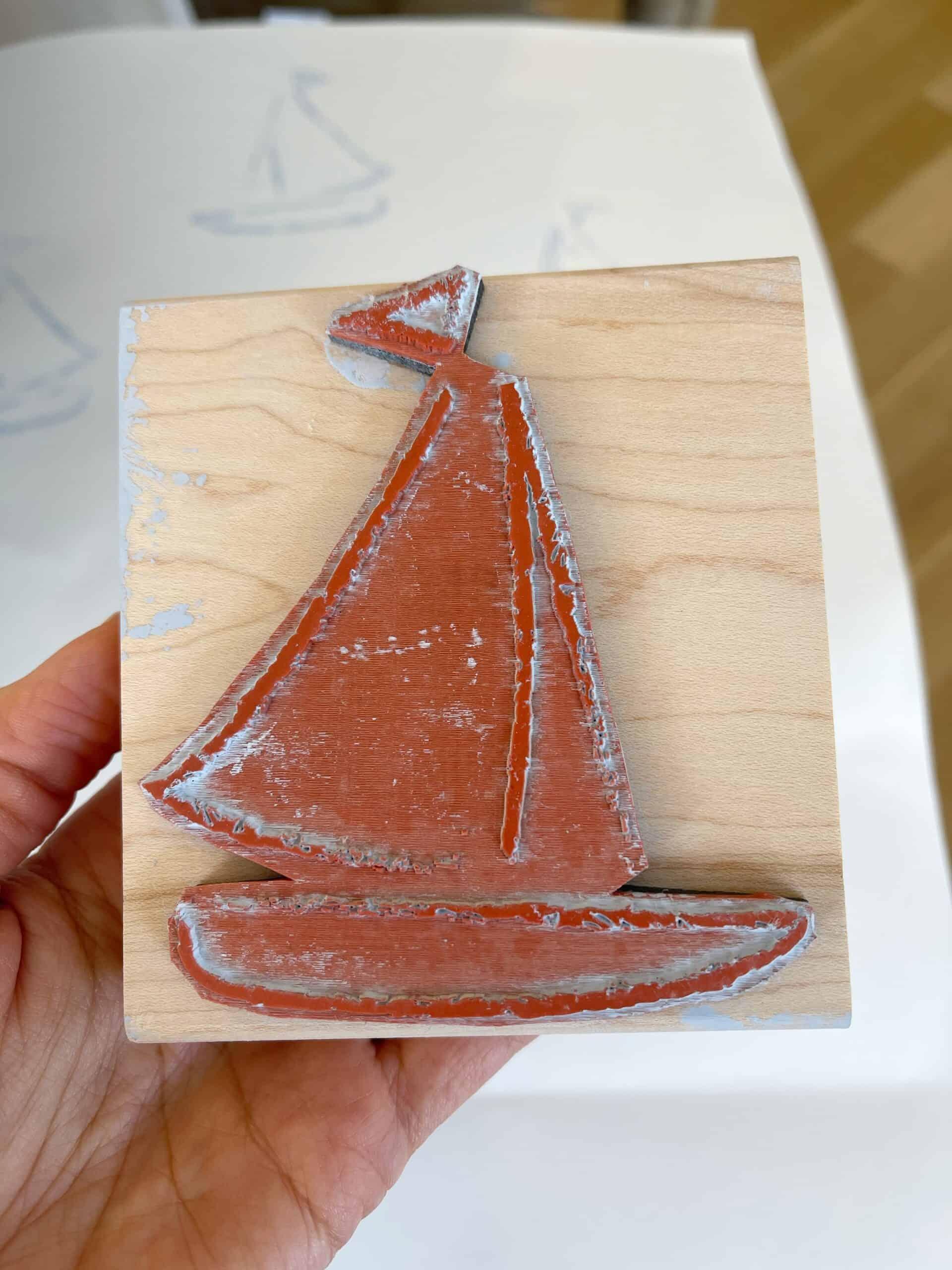 Custom sailboat stamp.